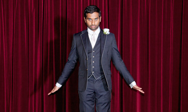 Here's finely tailored comic Aziz Ansari in  Band of Outsiders . Sad this perfect pair is no more.