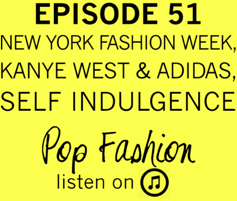 Area  Episode 51 .  This week hot topics is all about New York Fashion Week! What does Fall 2015 have in store? (Answer: Turtlenecks) Do you know how much money Fashion Week brings to New York City? (Answer: More than a certain Super Bowl) Also, scalpers are making some serious cash on NYFW shows. Kanye's collaboration with Adidas has people talking, Rebecca Minkoff is developing fantastic fitting room technology, Lisa questions if Banana Republic should have a fashion show, and rumors persist if Missoni is going to sell their fashion house.    Our main topic for the week is about self indulgence! What is the difference between self indulgence and self care? And, does self indulgence help us or hurt us? Is it actually pleasurable, or does it ultimately just cause more pain? Come hang out!