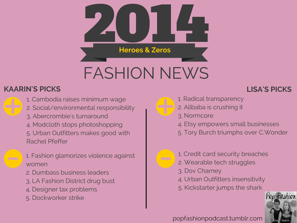 2014 Heroes & Zeros: Fashion News in review from Pop Fashion