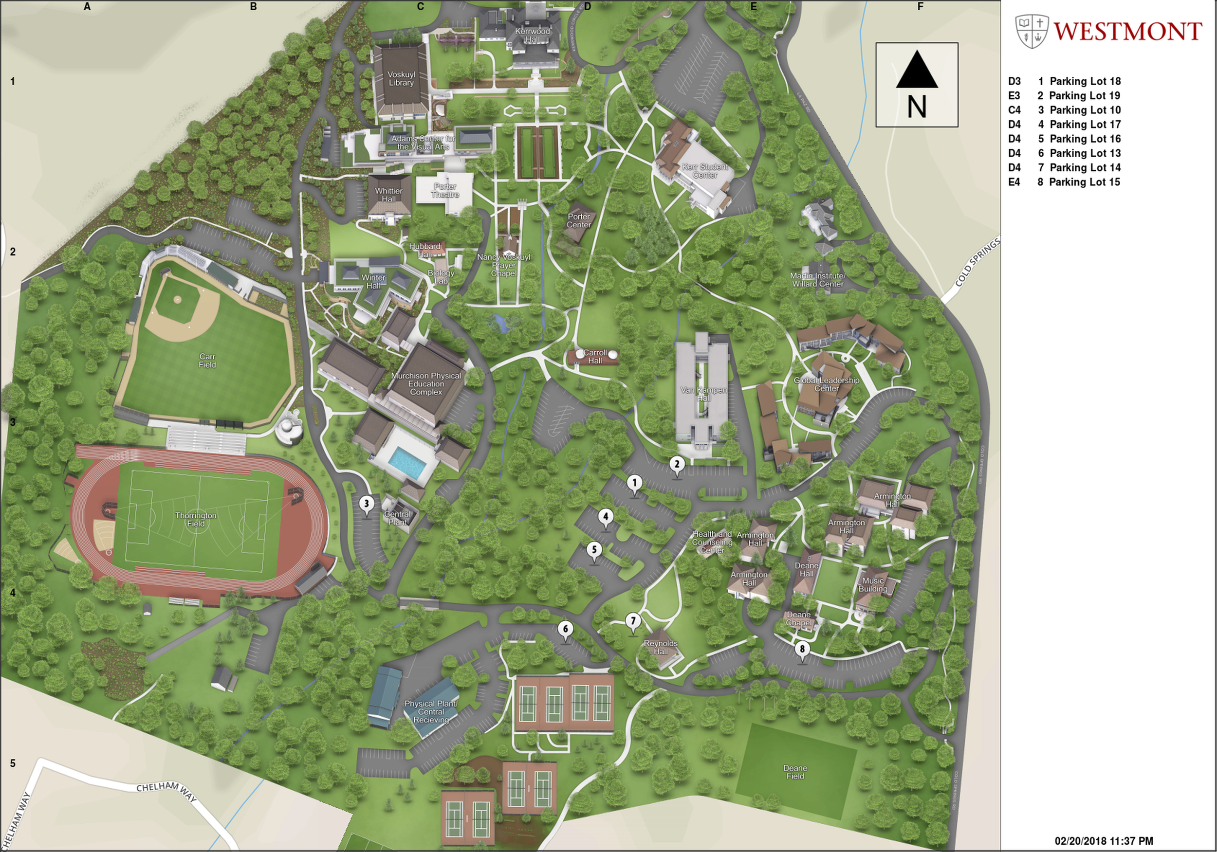 Westmont College Parking Map