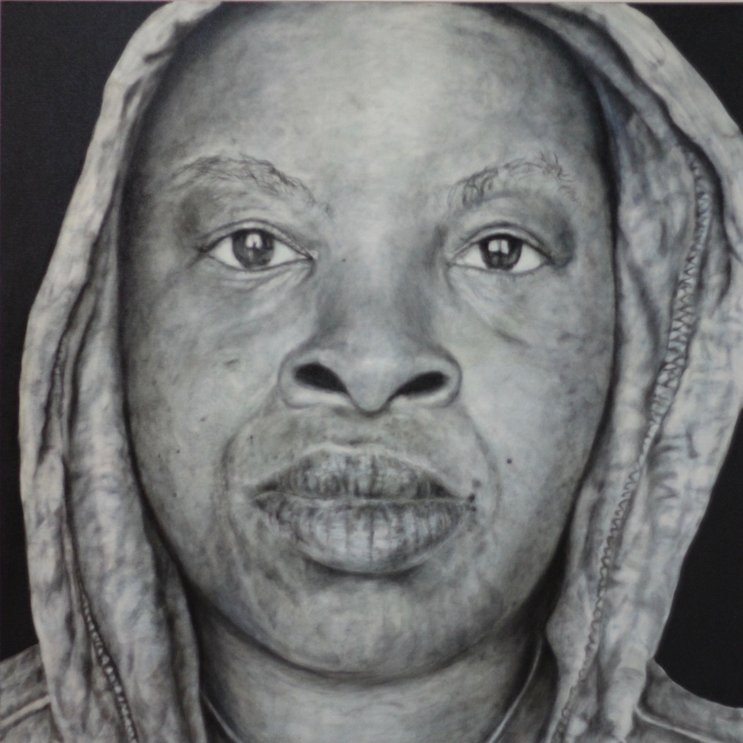 """In The Hood - Portraits of African American professionals wearing a Hoodie"", oil on canvas, 48""x48"", 2014."
