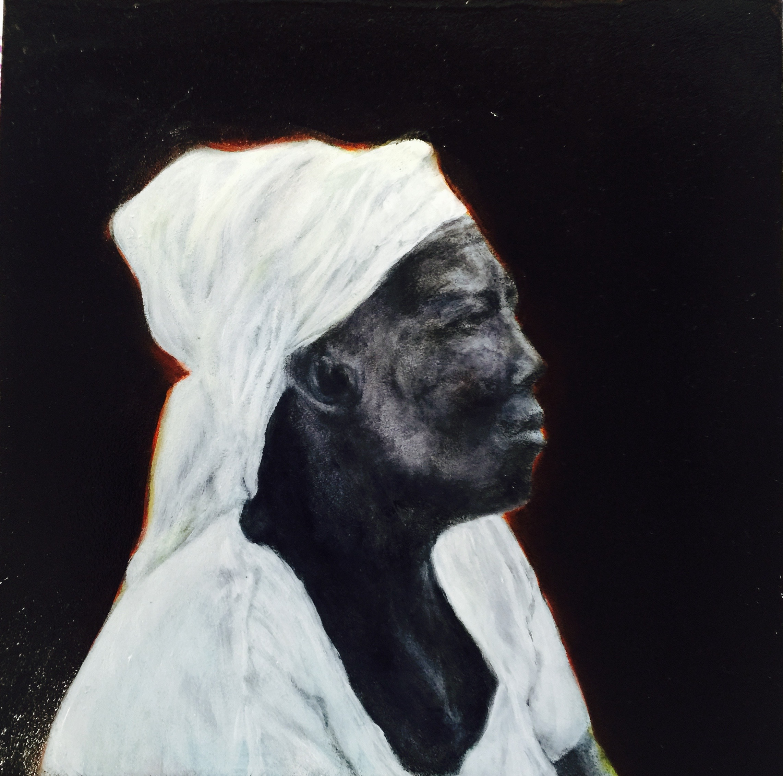 """Waiting"", oil on woodboard, 8"" x 8"", 2015."