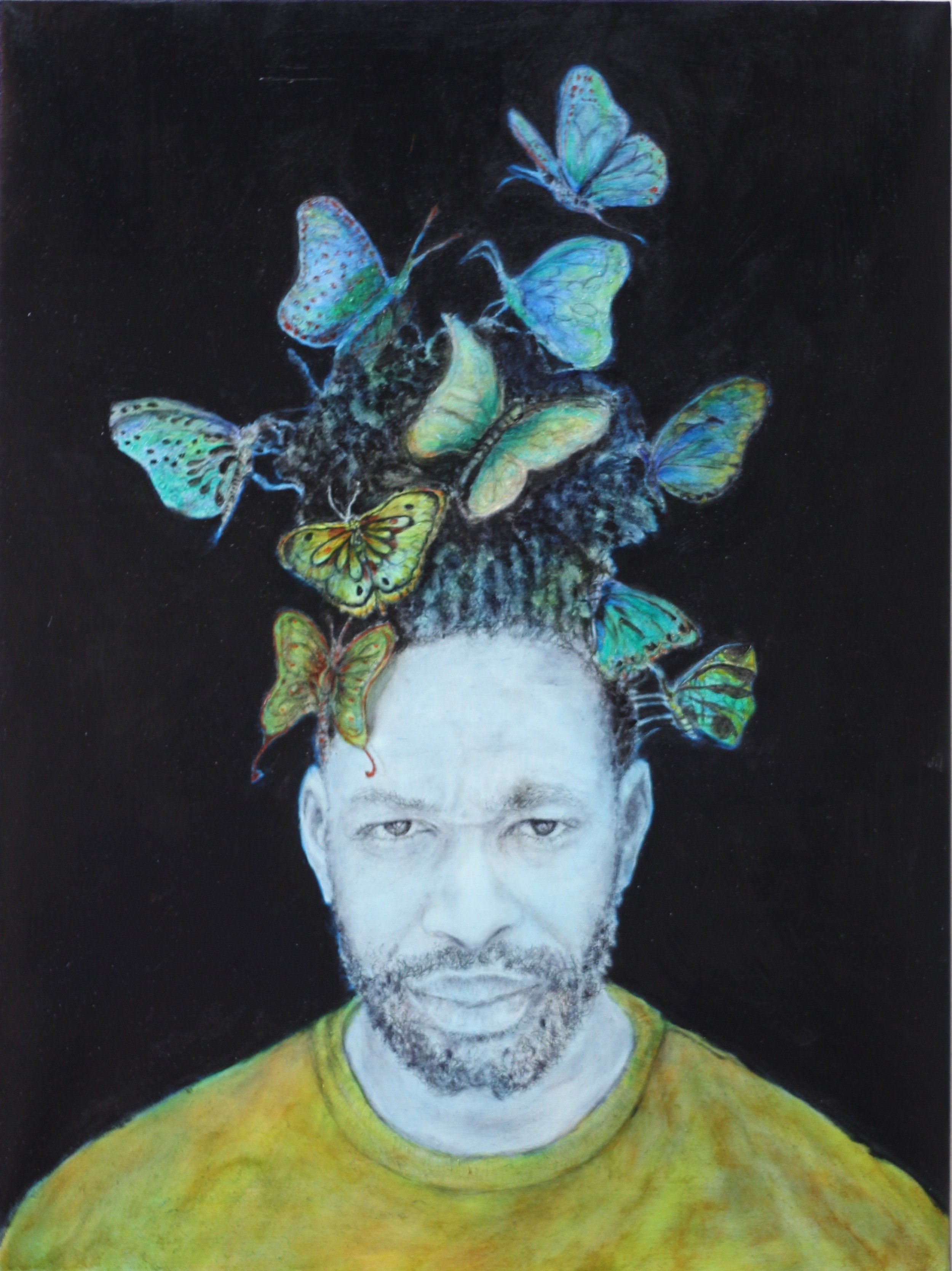 """""""Of Human Survival - Plight of the Butterflies"""", 28""""x24"""", charcoal, graphite and oil on canvas on woodboard, 2018."""