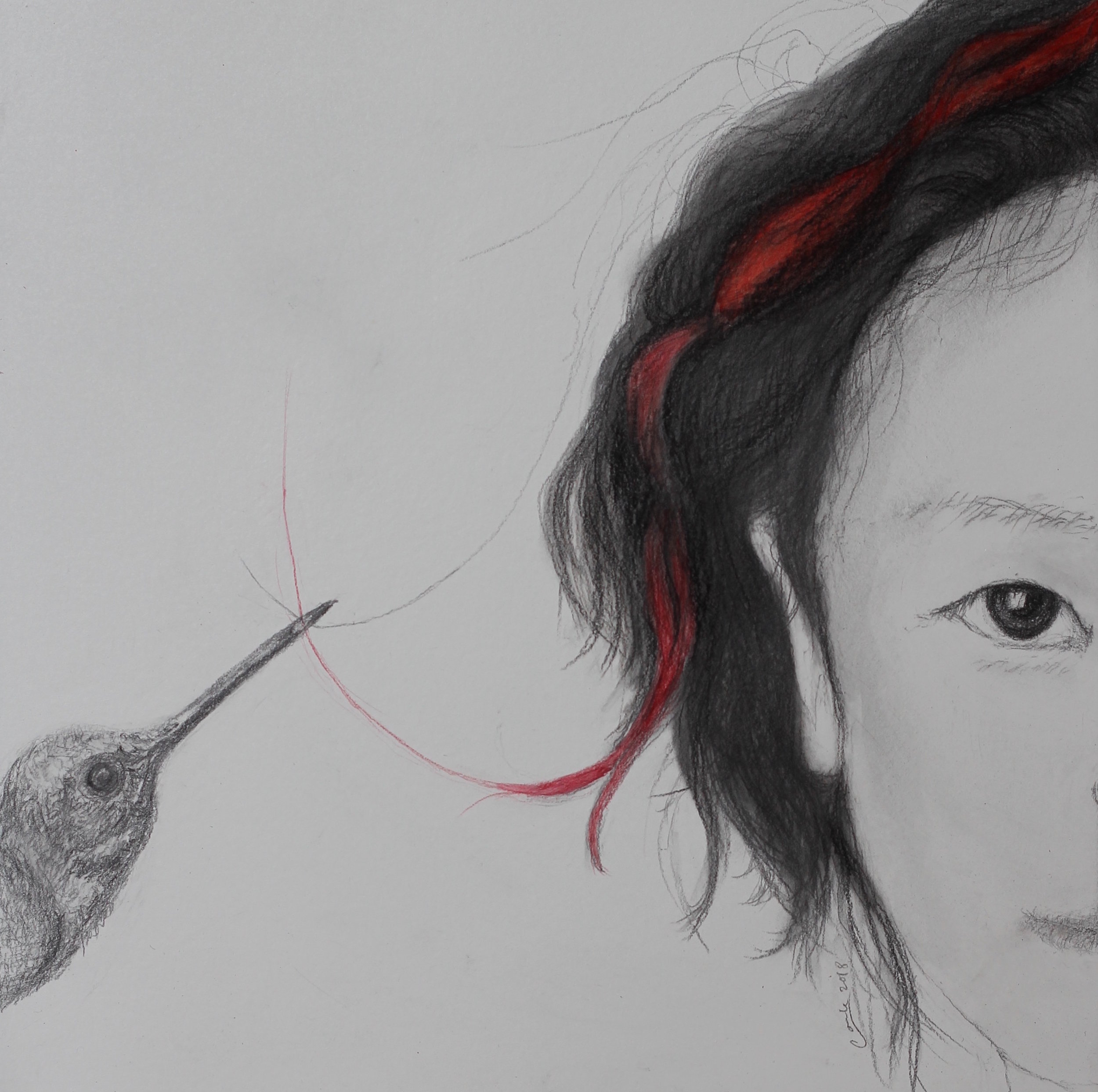 """""""Girl with the Red Ribbon,"""" 8""""x8"""", charcoal, graphite and arcrylic on woodboard, 2018."""
