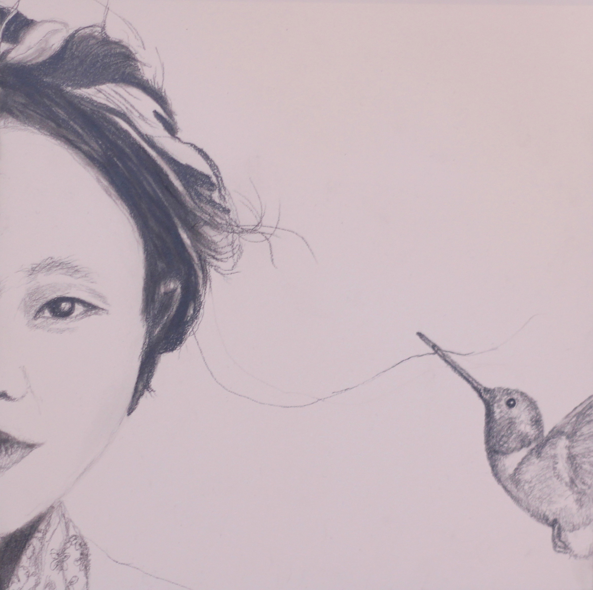 """""""Young Lady with a Hummingbird"""", 8""""x8"""", charcoal, graphite on woodboard, 2018."""