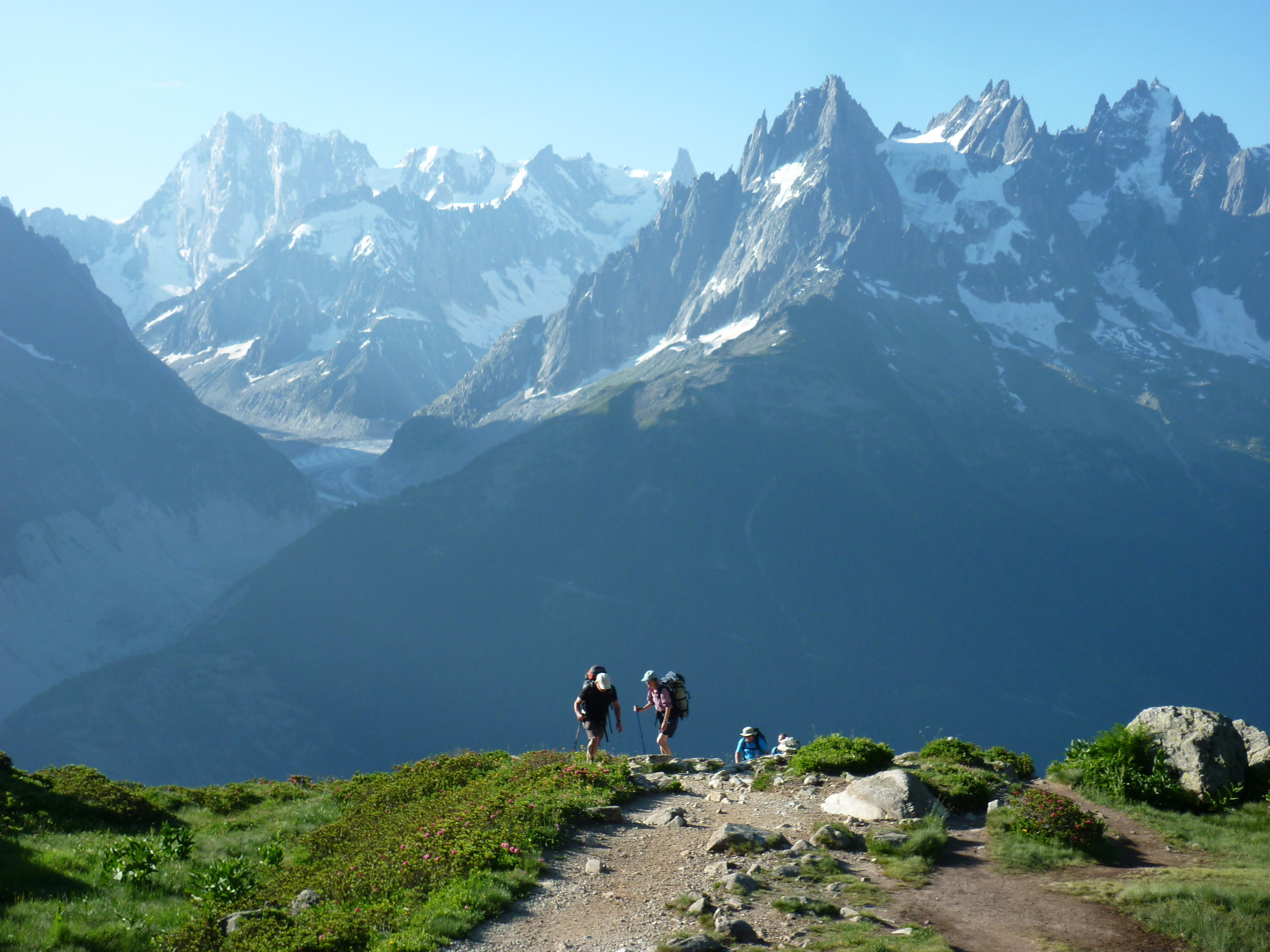 Mont Blanc Hotel Trek - Le Tour du Mont Blanc is one of the greatest walks in the world. Passing through France, Switzerland and Italy you'll see Europe's highest mountain from all sides.