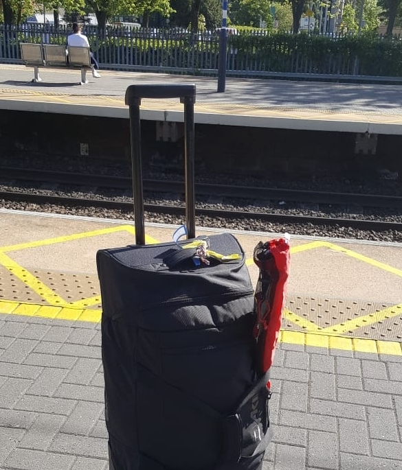 My bag with the essential walking poles.