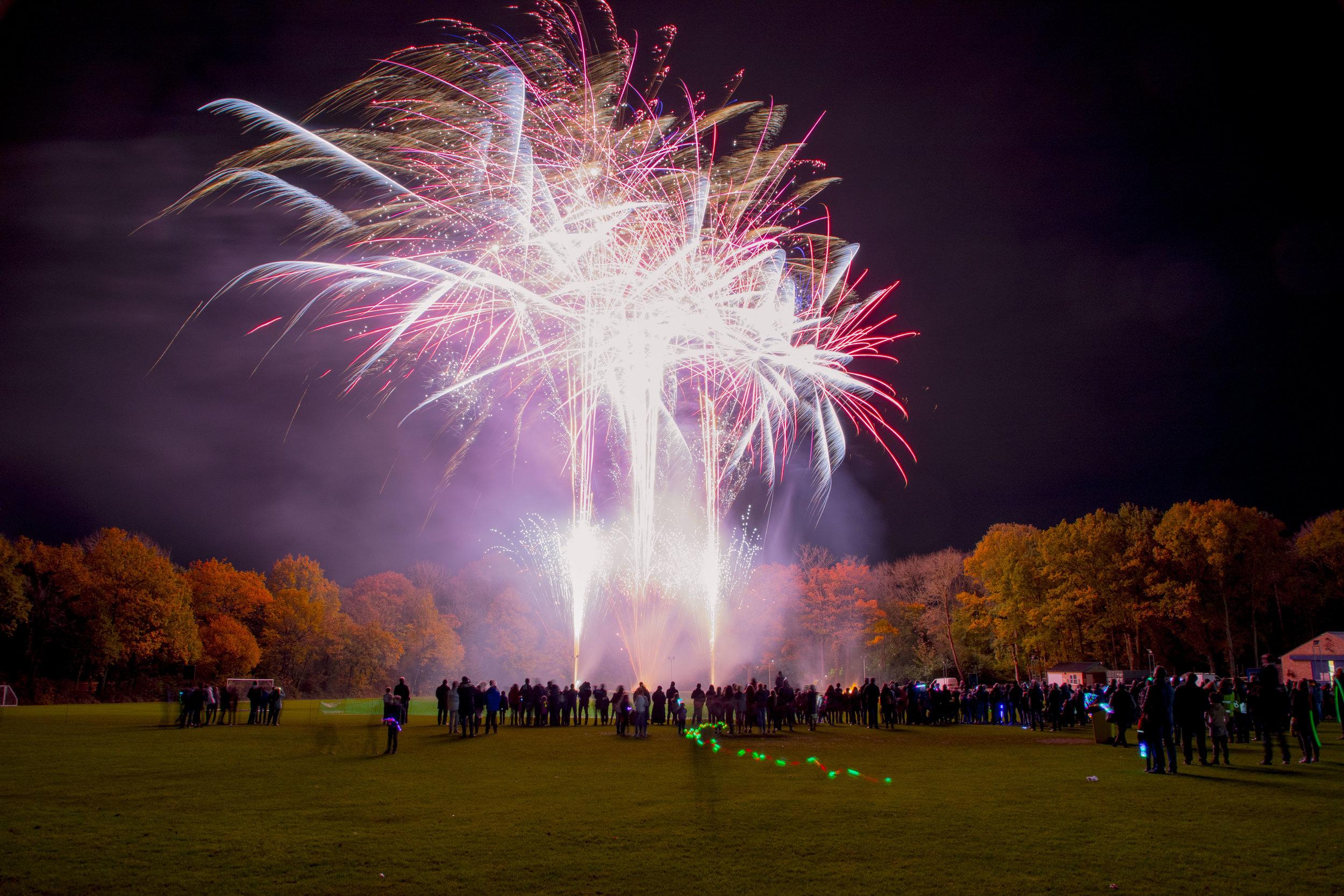 Stunning fireworks at a school fundraiser.