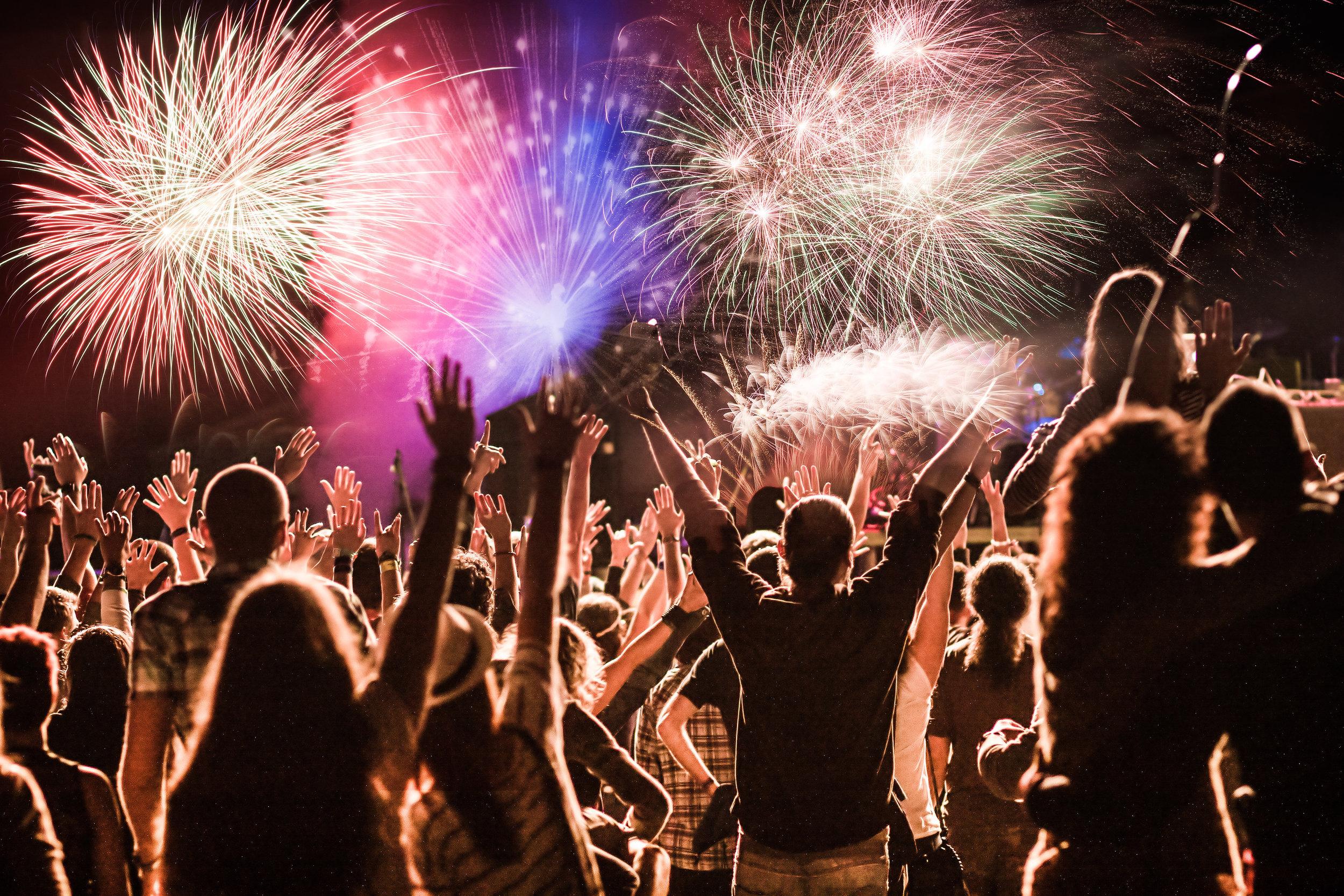 Fireworks at a rock concert.
