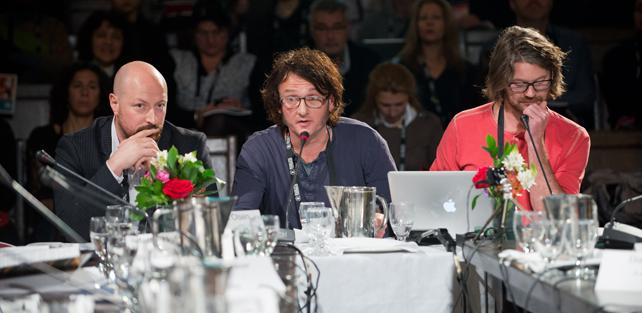 Bjørn Arne, Steffan og Carsten forsøker å selge Natta til Nord-Amerikanere på Hot Docs Forum