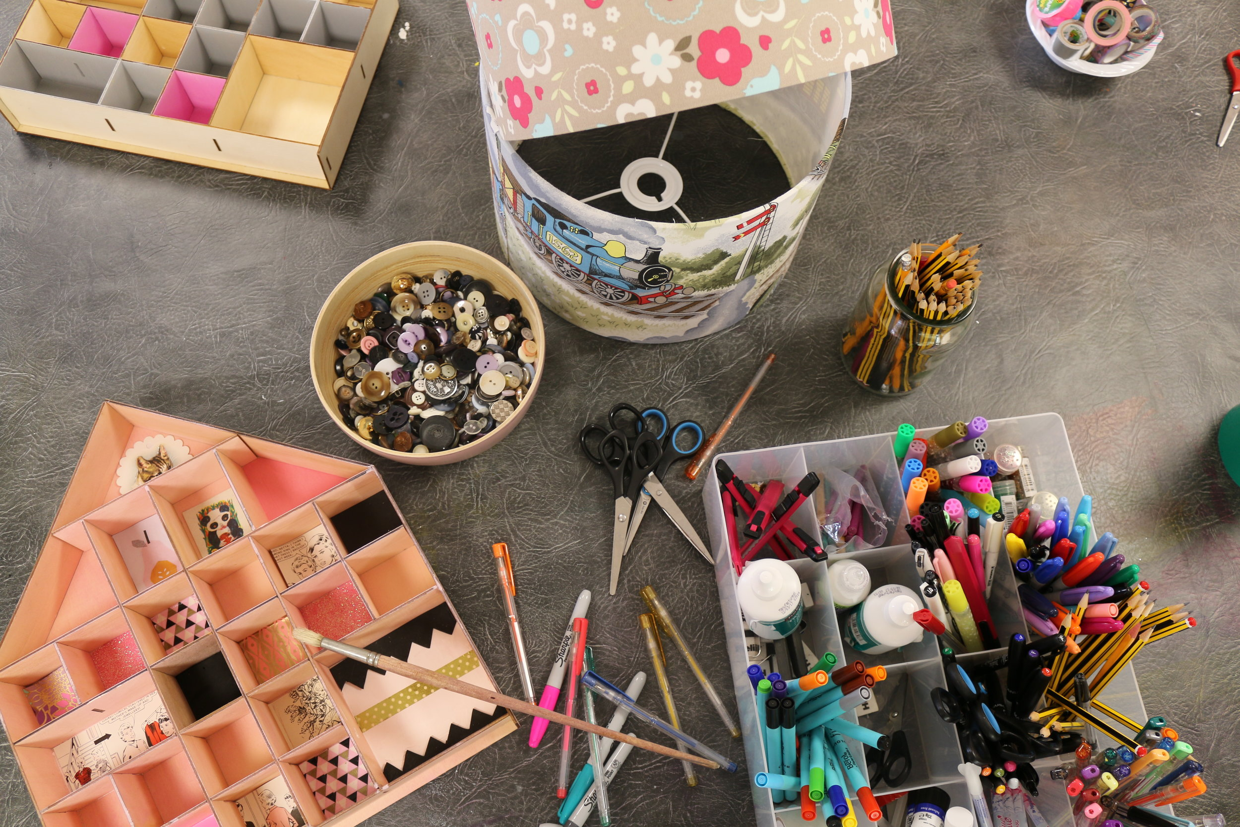 We have cupboards full of materials so you can get as colourful and creative as you want!