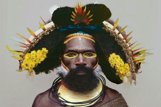 "Huli tribesman, Kikita village, Southern Highlands ""Man As Art"" series by Malcolm Kirk"