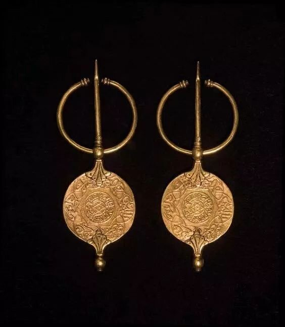 African Gold Hoop Hishi Earrings with brass and copper beads