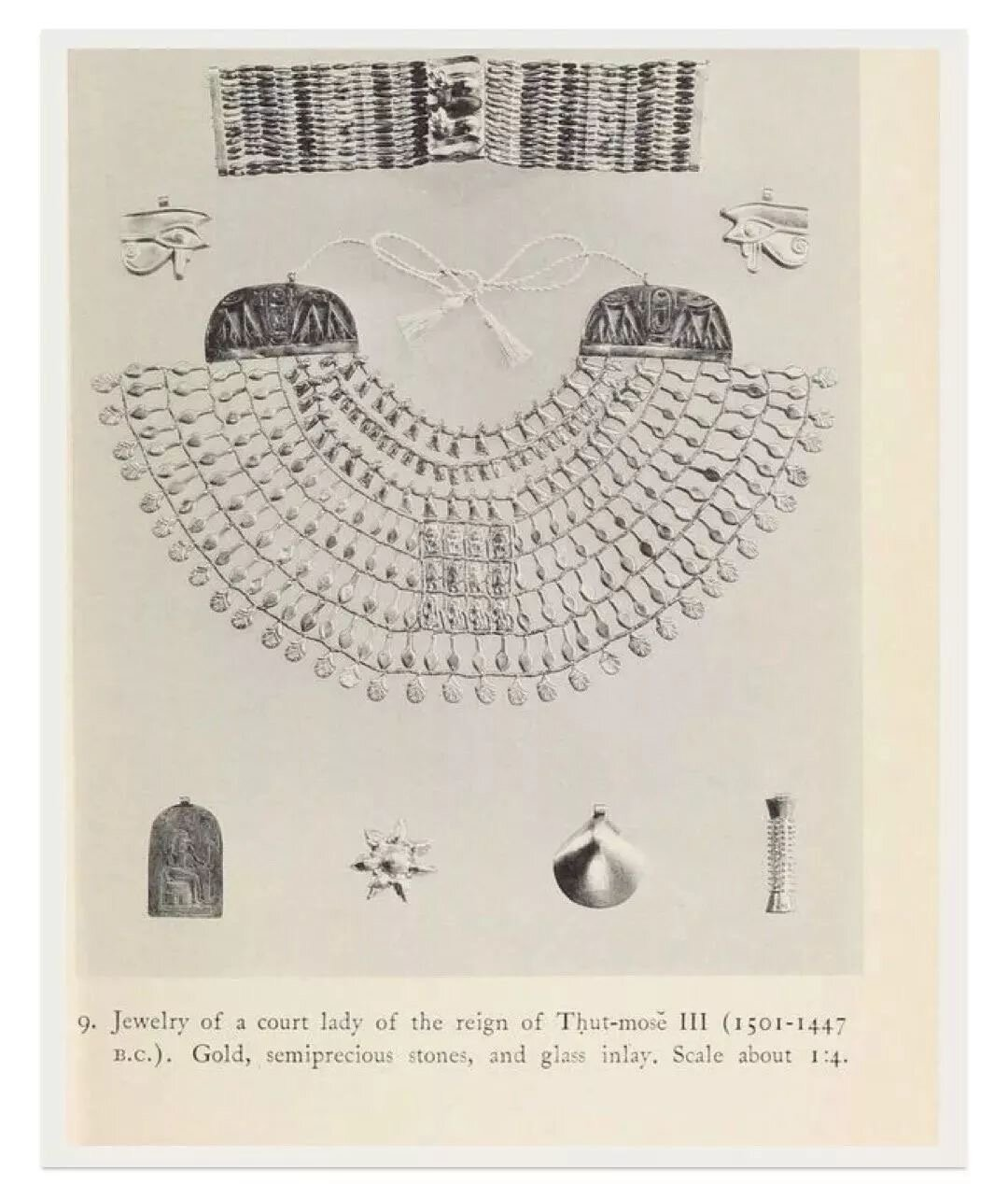 "A page from the book ""Ancient Egyptian Jewelry""    by Ambrose Lansing"