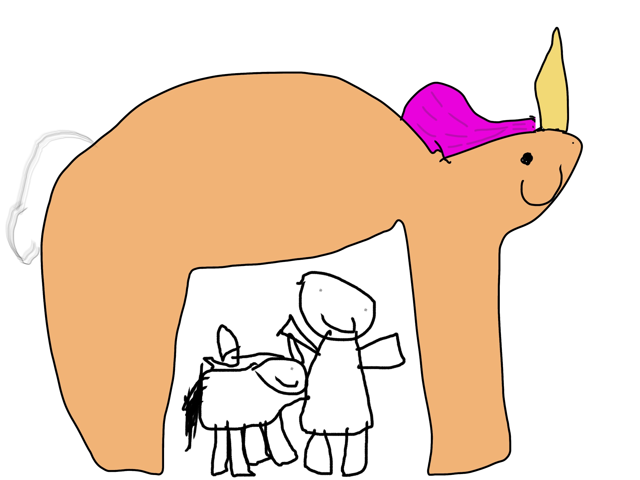 Jane's iPad art of her keeping safe under her pet unicorn. Of course.