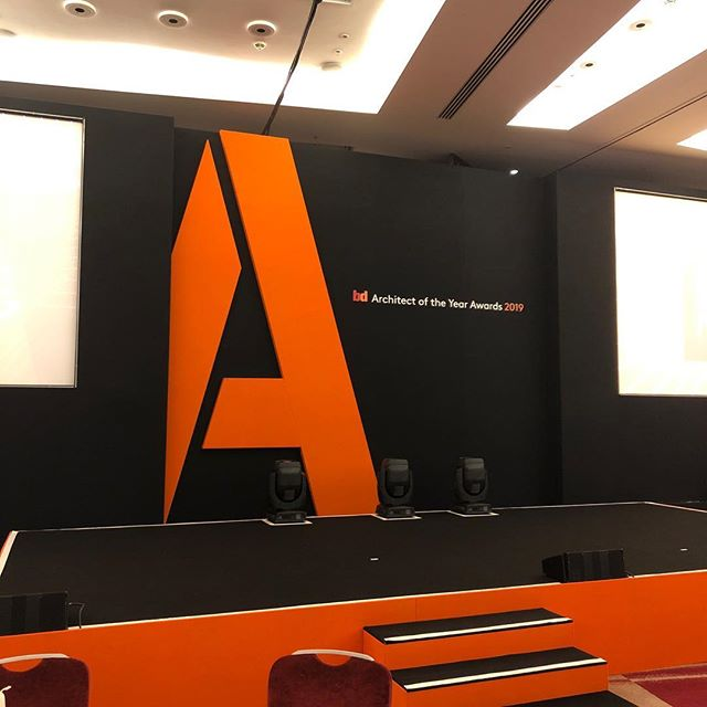 One of our many jobs today was the Architect of the year awards.  We provided a projection set complete with a #massive A.  We also provided all of the lighting. #awards #eventprofs #onbrand