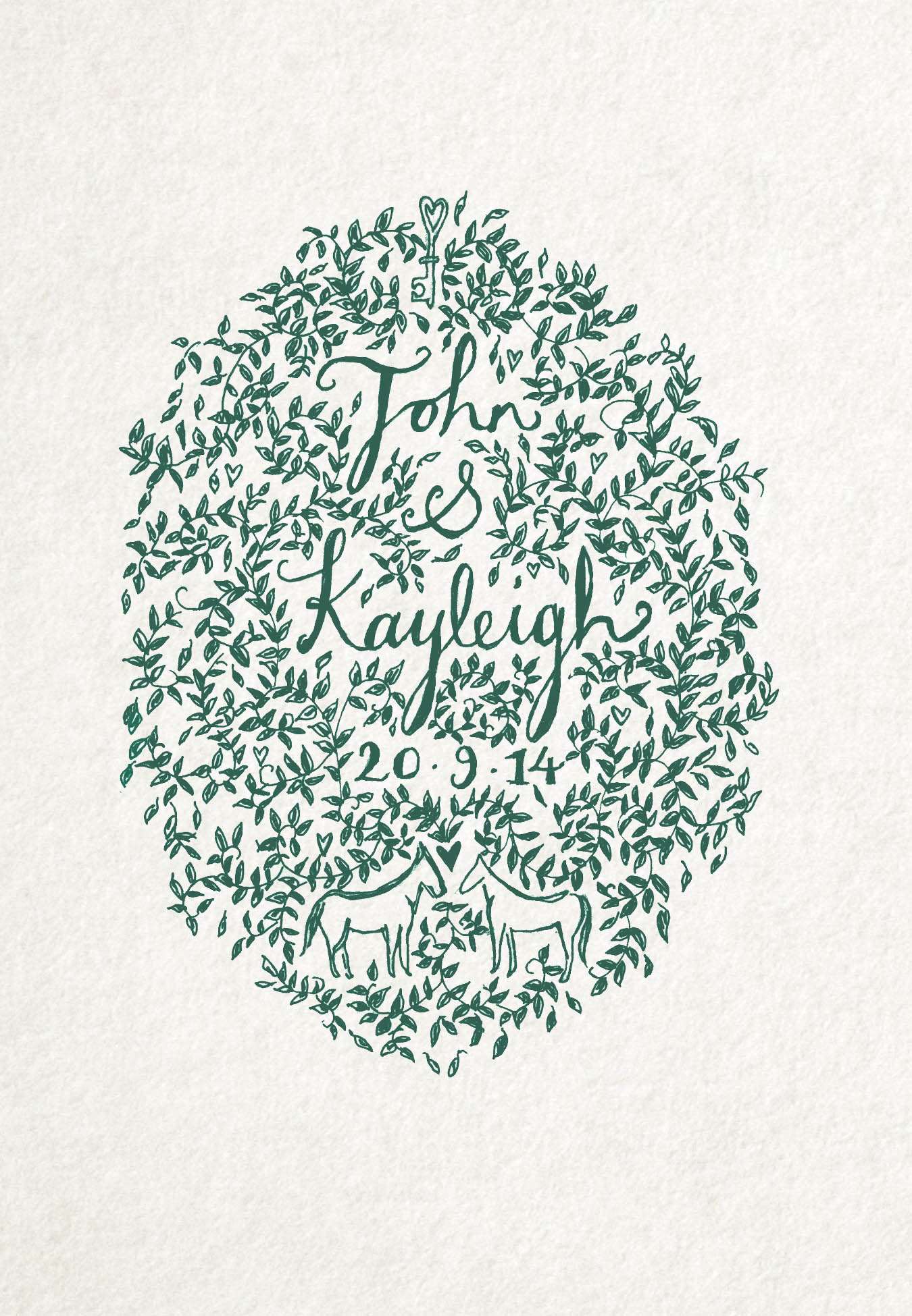 wedding COMMISSIONS - A floral bespoke commission created for a truly unique wedding present.Hand drawn with pen and digitally manipulated to turn the design to natural green tones.