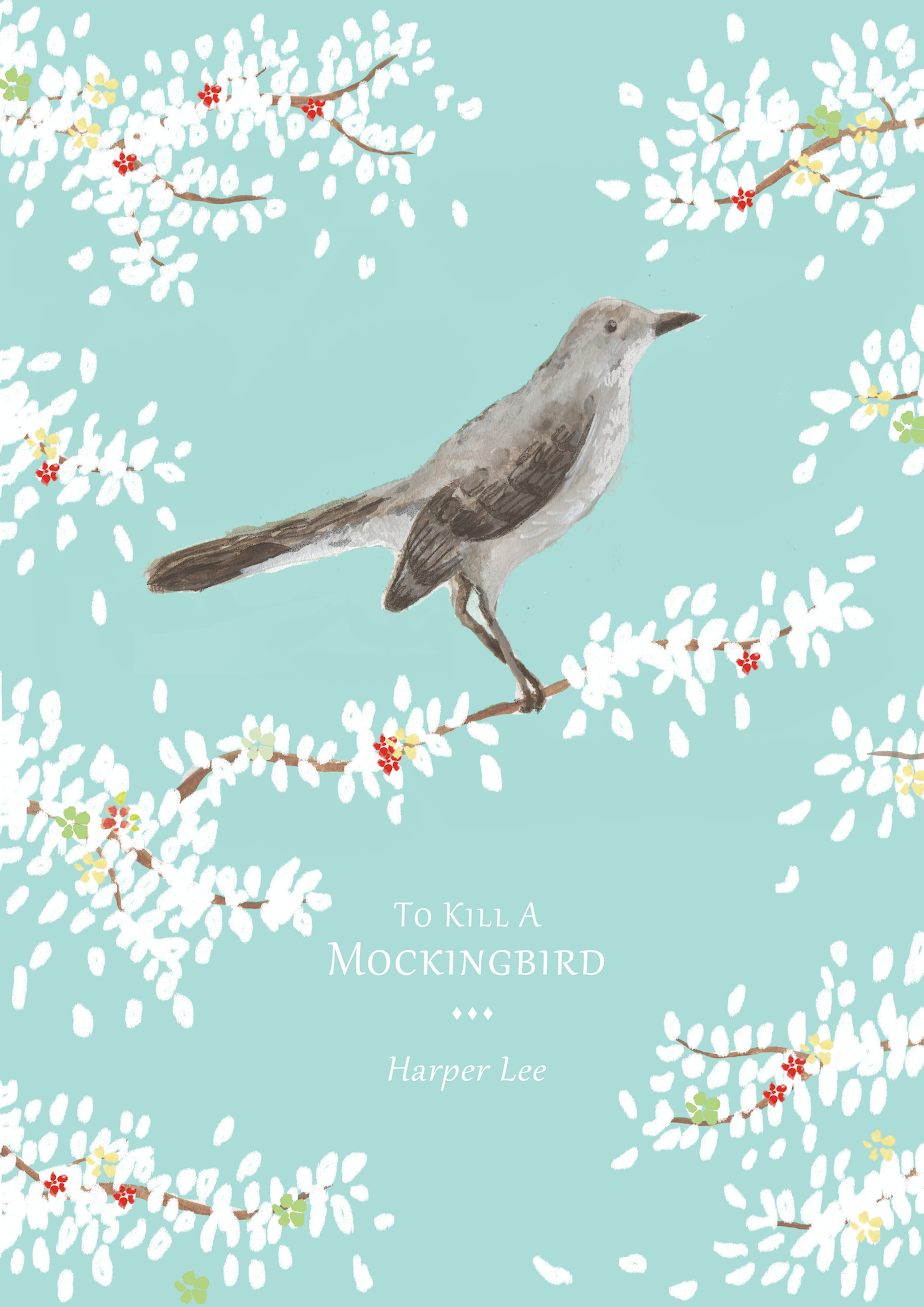 to kill a mockingbird print - This print is a mix of watercolour and digital, the mockingbird within was hand drawn and painted with watercolour & the background and leaves are all digitally drawn.Fun fact: This print was commissioned to feature in a TV set.
