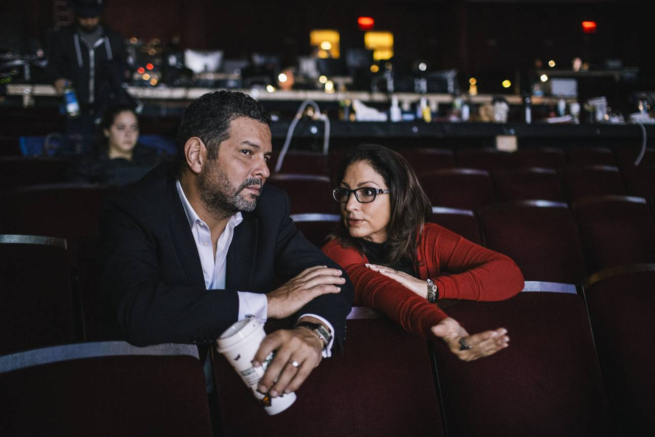 Alex Dinelaris and Gloria Estefan during rehearsal for the Broadway Musical  'On Your Feet'