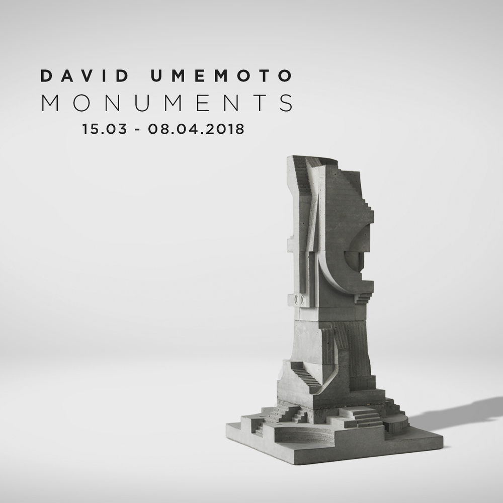 """OPENING  15th of MARCH 2018 with artist David Umemoto from 17:00 til 20:00 with drinks & food   EXHIBITION  from March 15th till April 08th 2018 Thursday - Friday - Saturday - Sunday From 13:00 till 18:00  David Umemoto's modular cubic sculptures are studies of volume—at the juncture of sculpture and architecture . The miniature concrete structures are monumental and re-arrangable, conveying numerous images. A practicing architect, the Montreal-based Umemoto imagines the most incredible and complex modular building systems, which his brings to life in miniature form using concrete. Described by the artist as """"an exploration of the patterns and codes embedded in our environment,"""" After using a system of carefully regulated casts, Umemoto choreographs these into sculptural arrangements. Formed entirely from concrete, the sculptures expose the rawness of the unrefined material. Each form can be interconnected, disconnected and rearranged to generate endless artistic compositions, resulting in a constant state of transformation. Umemoto explains his work as a highly codified and rigorous construction of an extensive modular system where each element can be added or subtracted to give place to a new unique work."""