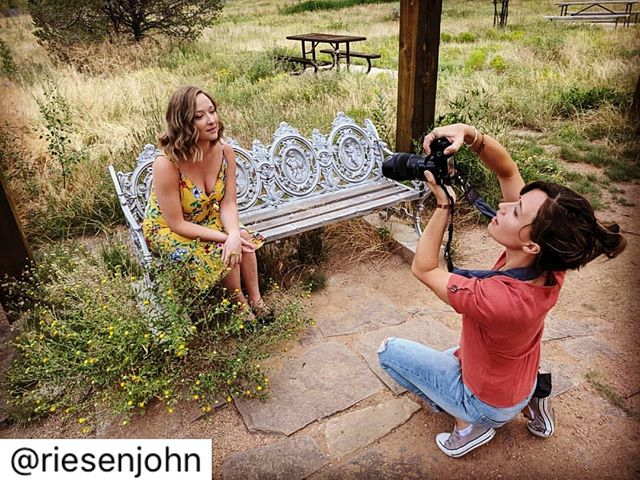 """A little sneak peak of a *sweet* headshot session with the amazing @gillianriesen and @riesenjohn 📸🔥 #operasingersofinstagram #santafe #photography #sfoapprentices #dayoff #soprano #repost . . . . . Aaaaaaaand shoot #3 of the day in the books! It's been a busy """"day off"""" for this cute little lady of mine. But man these photos are unreal!"""