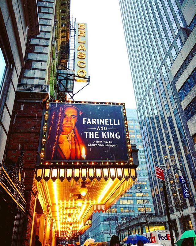 A snowy #matinee of #FarinelliandtheKing at the #BelascoTheatre #broadway #play