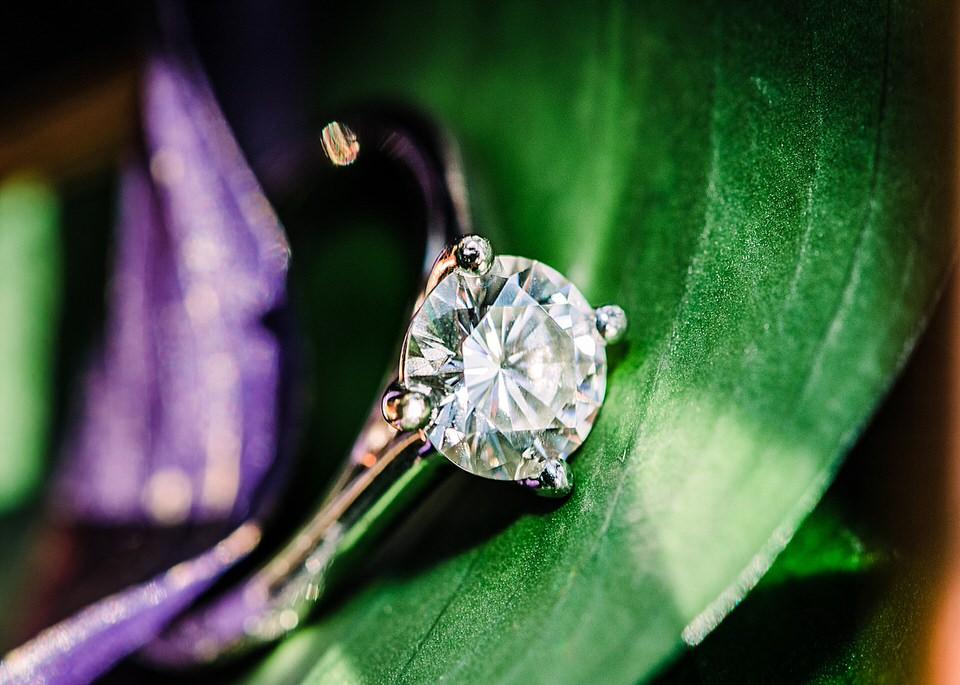 Birmingham Wedding Photography engagement photos ring shot on leaf