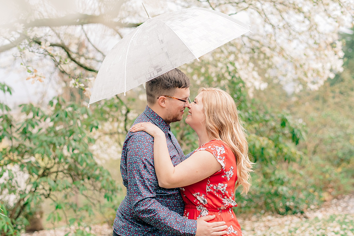 Birmingham Wedding Photographer Cherry Blossom Engagement Photo Session couples with umbrella