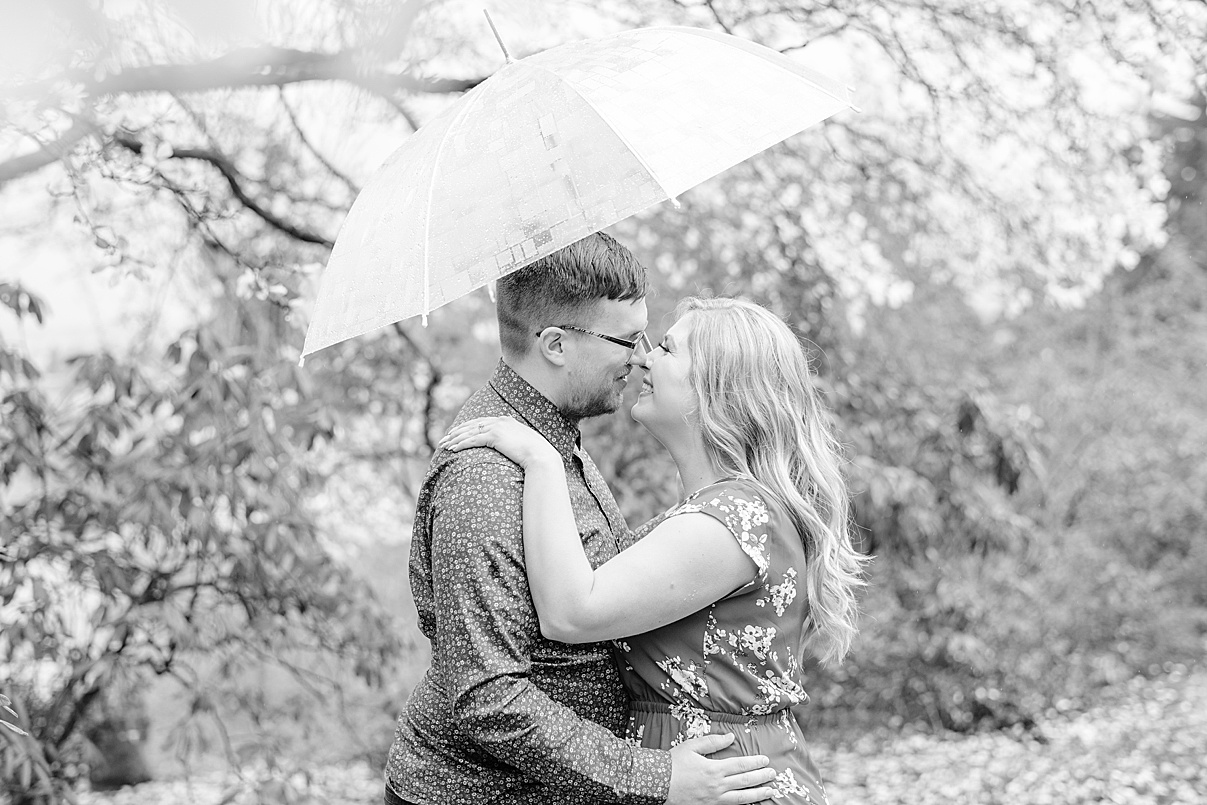 Wedding Photographer Birmingham Cherry Blossom Engagement Photo Session couples with umbrella