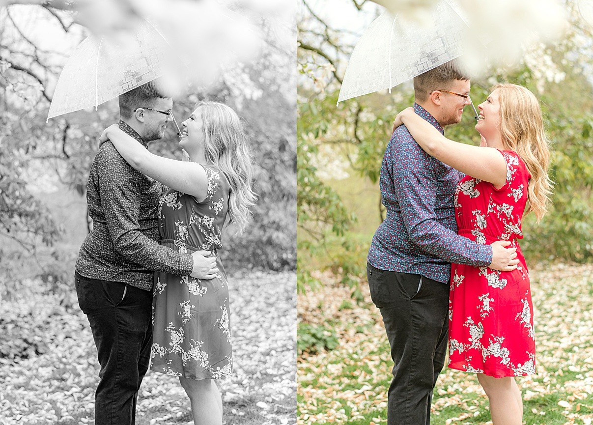 Birmingham Wedding Photographer Cherry Blossom Engagement Photo Session couples with umbrella profile view
