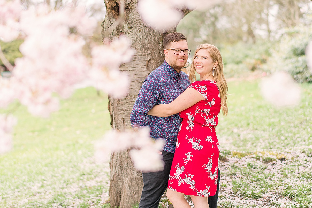 Birmingham Wedding Photographer couple engagement photo session spring cherry blossom