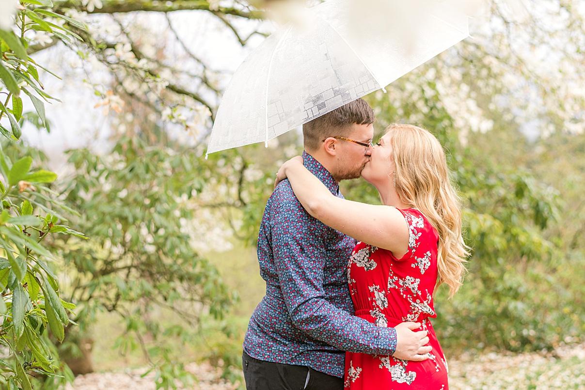 Wedding Photographer Birmingham Cherry Blossom Engagement Photo Session couple kissing