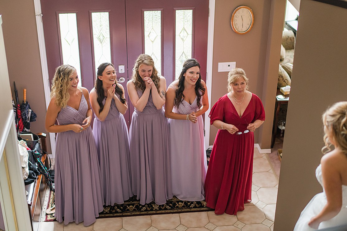 bridesmaids getting ready taken by west midlands wedding photographer Lisa Lander