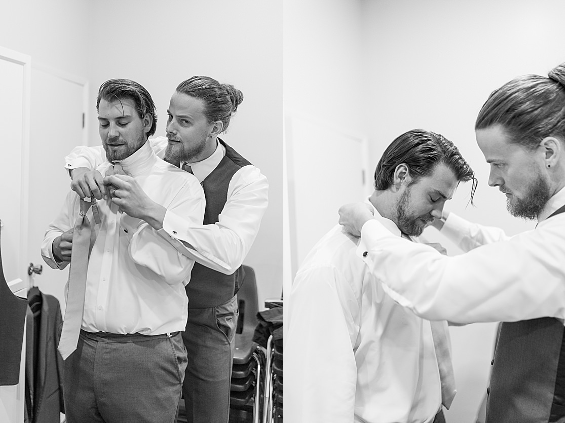 groomsmen getting ready taken by west midlands wedding photographer Lisa Lander