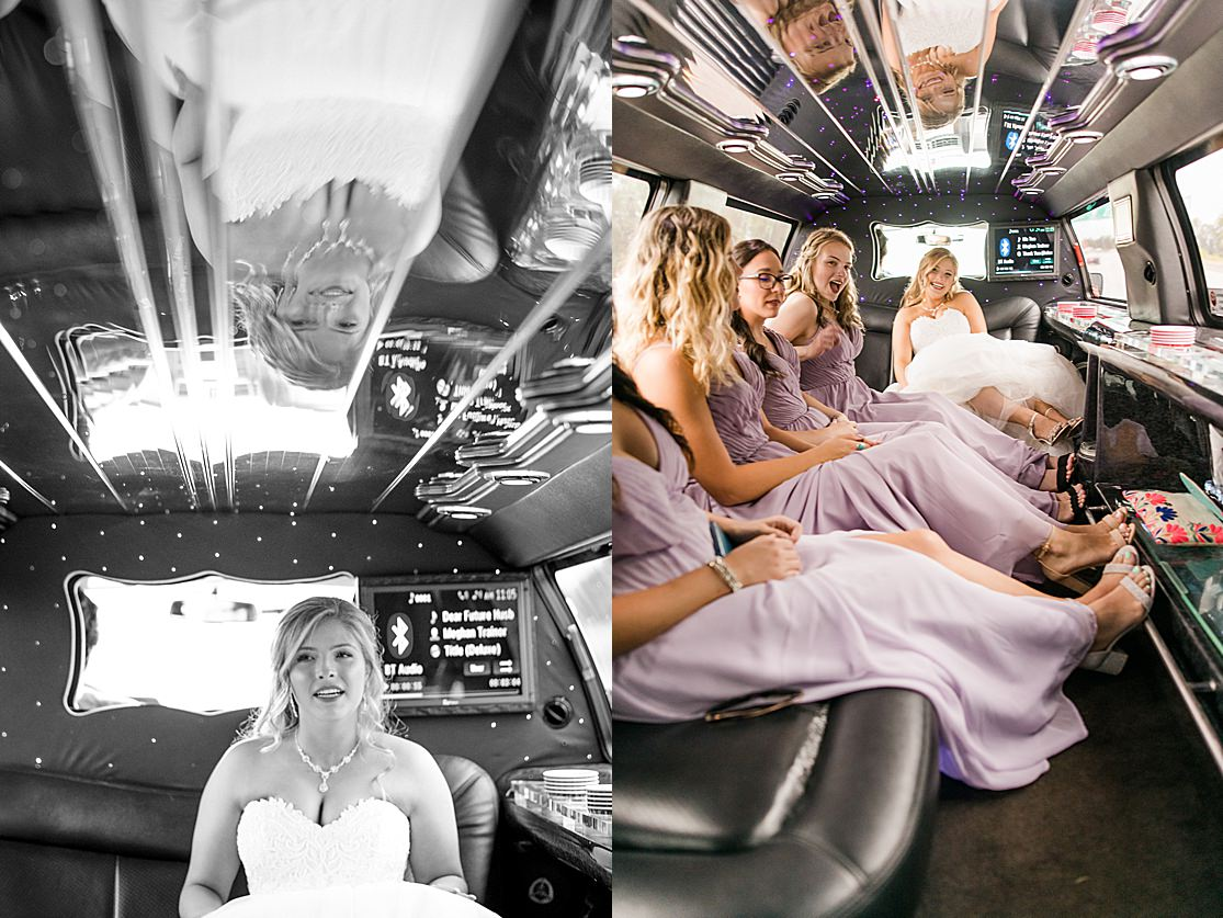 bridal party riding in a limo taken by west midlands wedding photographer Lisa Lander