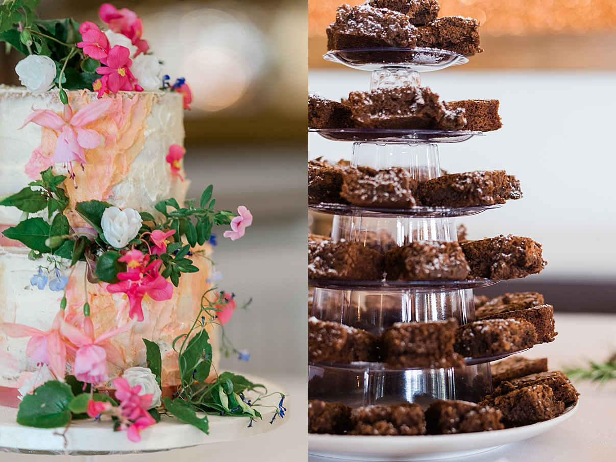 wedding cake and brownies from wedding in shropshire west midlands