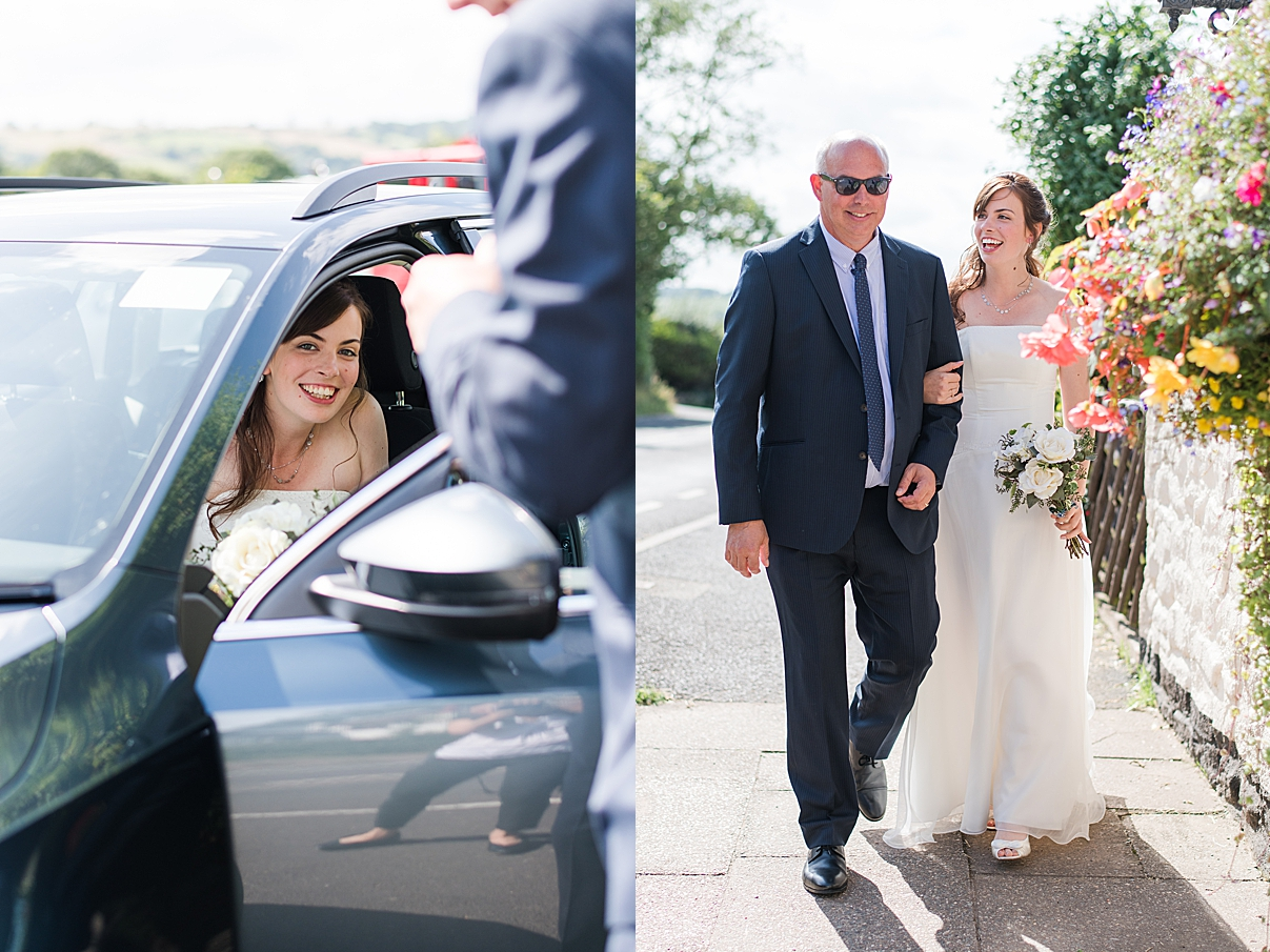 bride arrives with father at her west midland wedding
