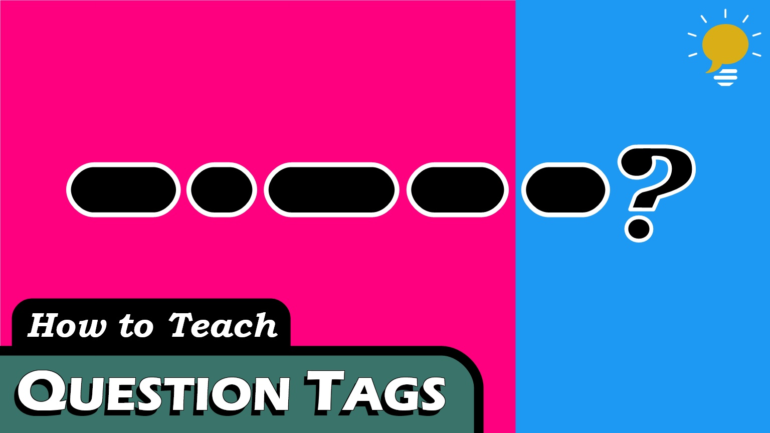Question Tags - We use Tag Questions when we think we know the answer but are asking for confirmation - they are halfway between yes/no questions and declarative sentences.There are 3 parts to Question Tags, but it depends on how you use them.