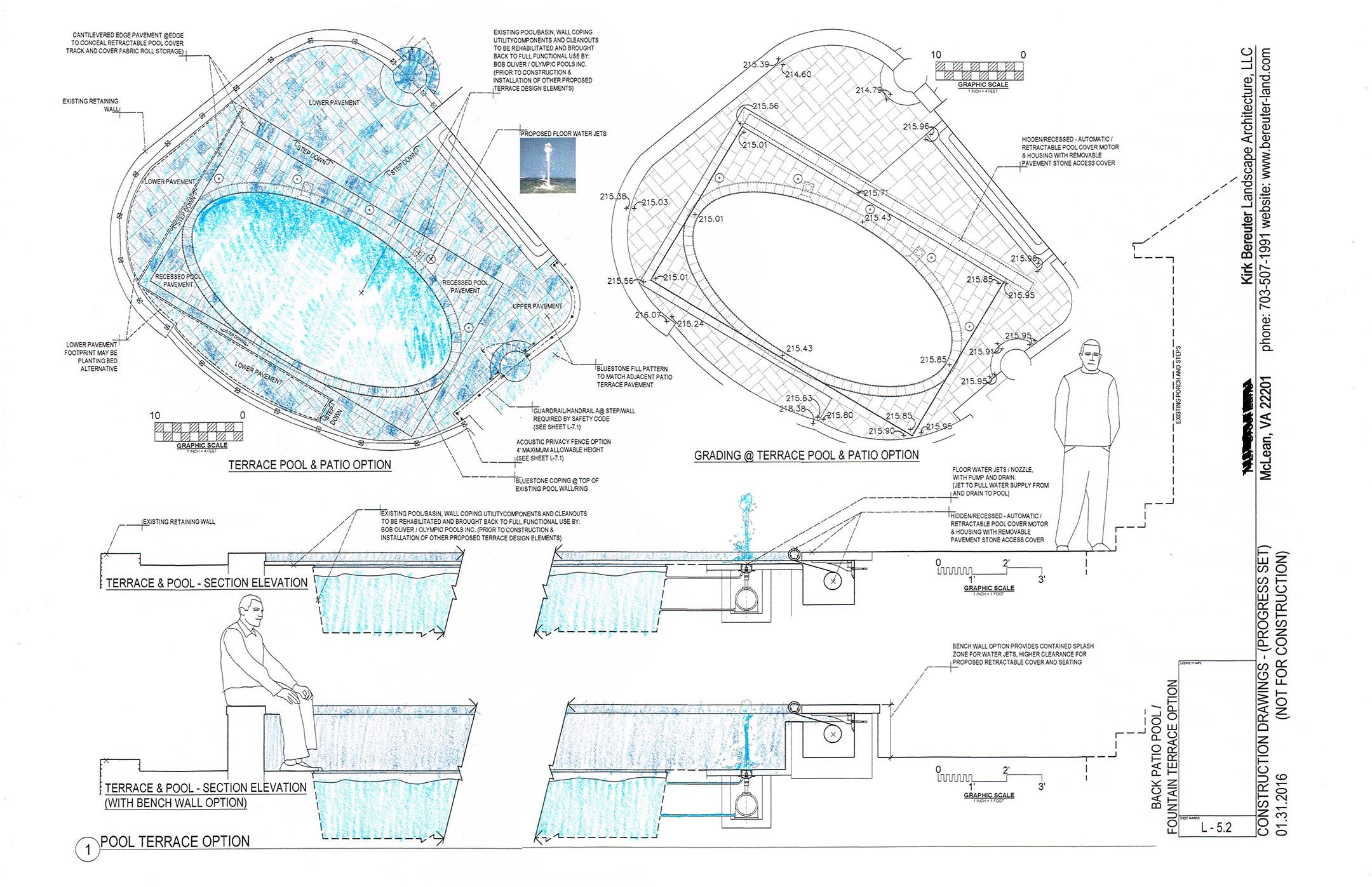 Preliminary pool area schematics shown above.