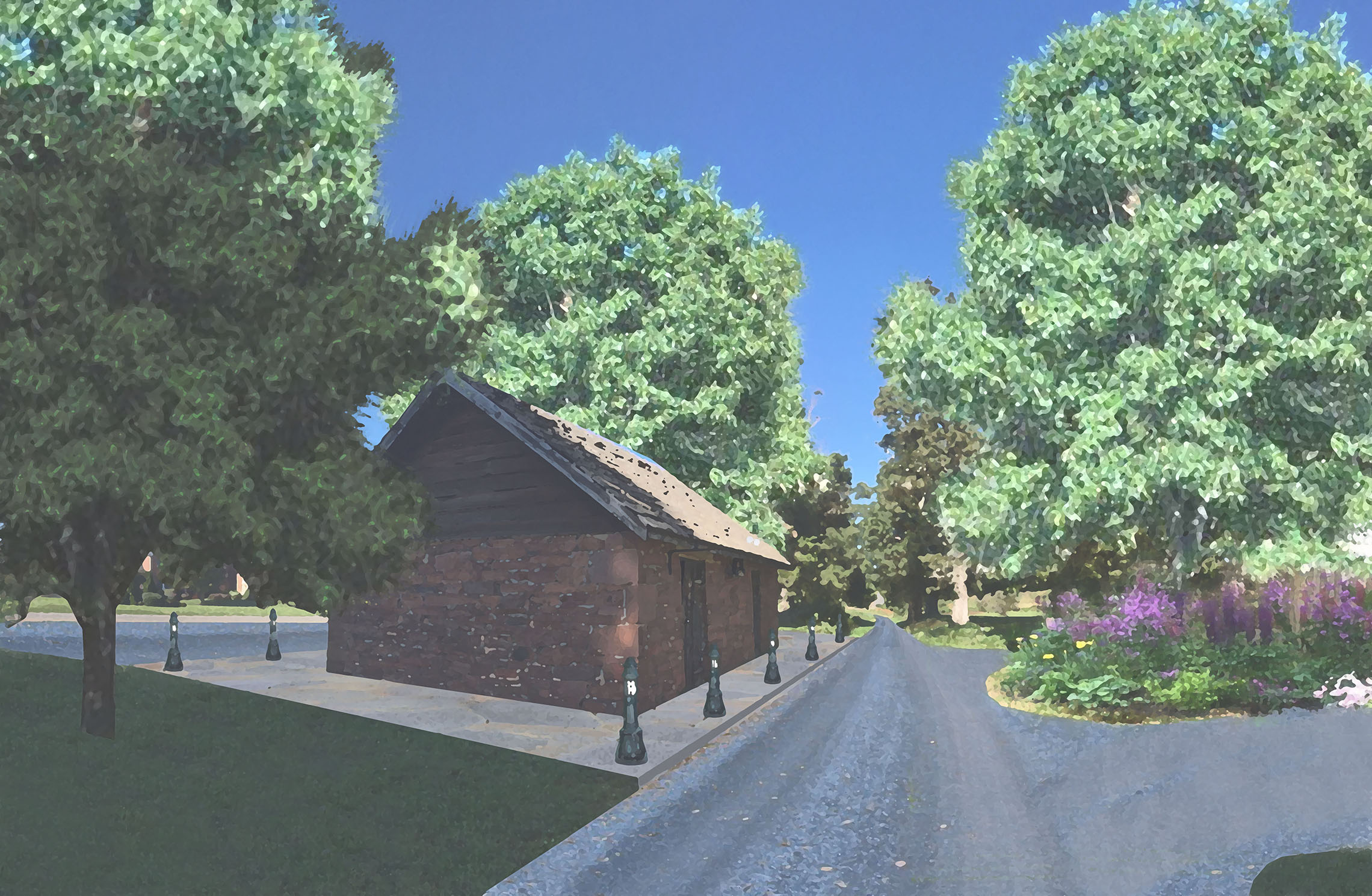 Illustrative showing proposed entrance road @ historic blacksmith shop.