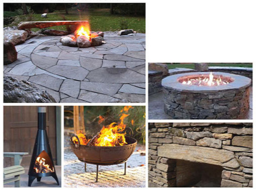 preliminary style pallet: movable, or built fire pit / chimney construction