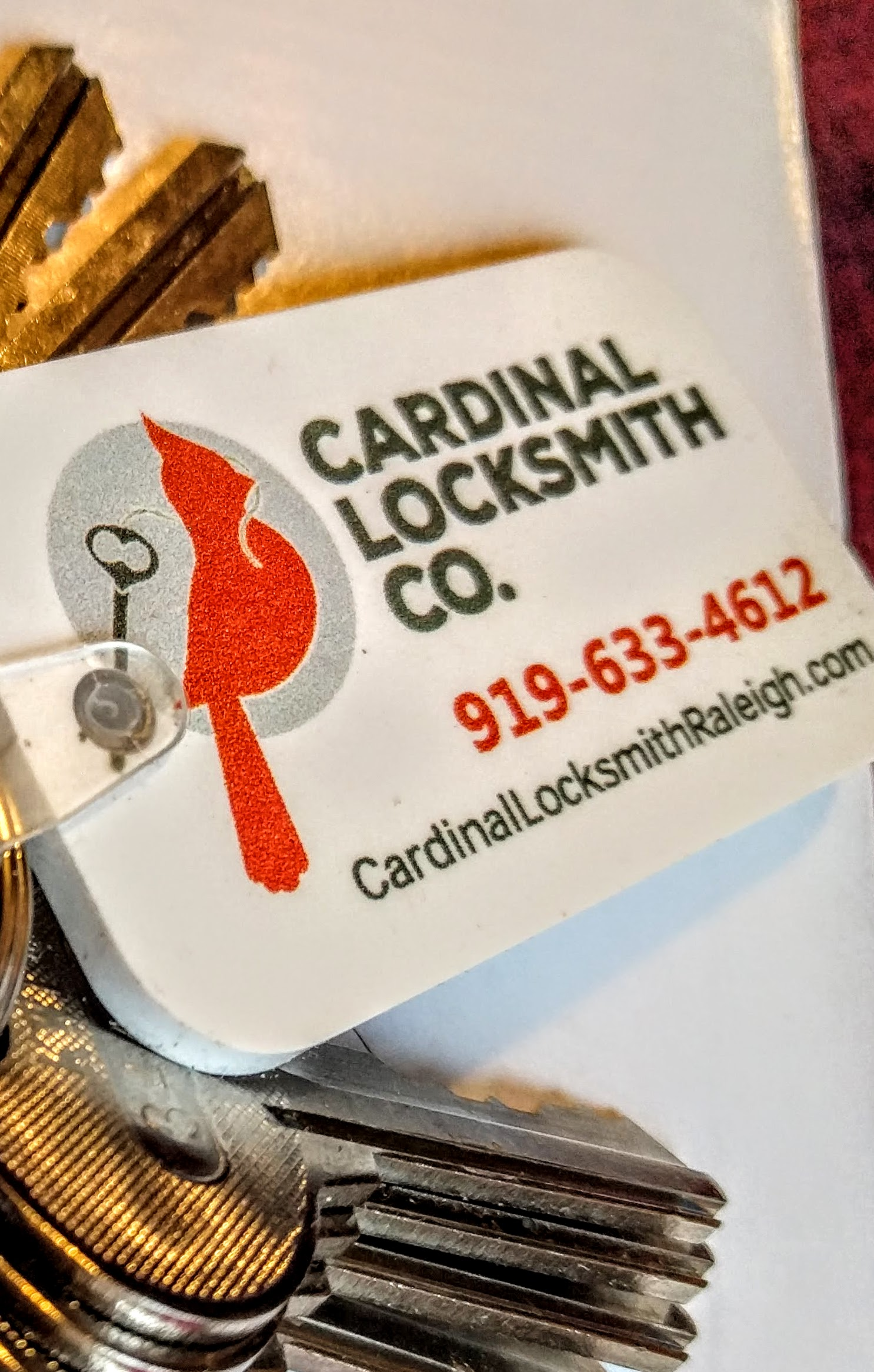 "locksmith, raleigh, rekey, rekeying, cardinal, lock, ""27601"", ""27604"", ""27608"", ""27605"", ""27615"", ""RTP"", ""NCSU"""
