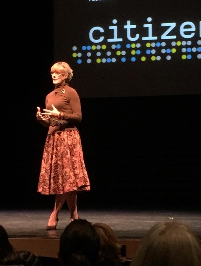 Pamela Smith Hill discusses  Pioneer Girl  on stage at the Chicago Humanities Festival.