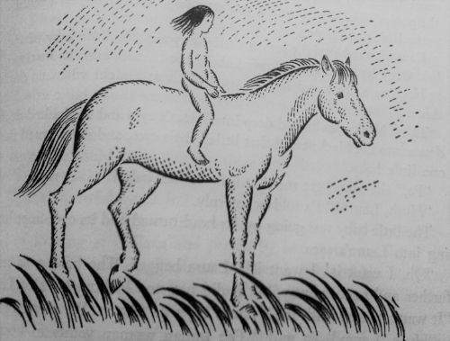 Ilustration by Helen Sewell for  Little House on the Prairie,  1935, depicting an unclothed child as per Wilder's view, who was truly free.