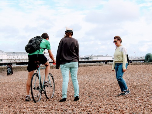 Ross tries to cycle on the beach... with limited success