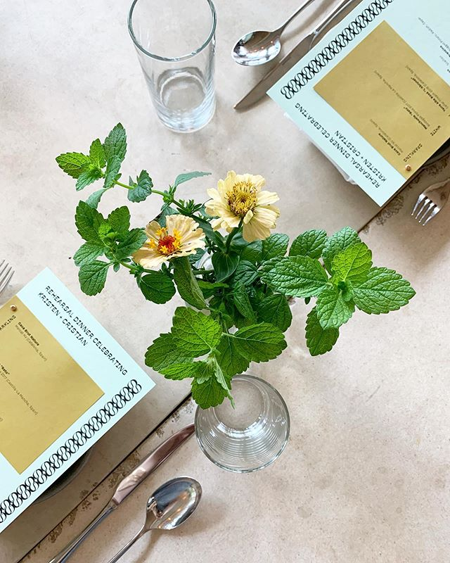Florals by @dirt_and_coffee and @karolynadiscos, menus by our events team. Click the link in our bio to find out more about hosting an event here at Celestine. 🌸