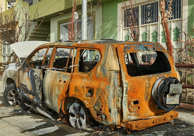Their car was burnt while Sazgar and her family were sleeping. Photo by: Gabe Soares.