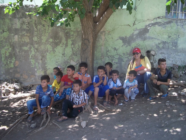 Julie Brown with children in Sergali. Photo by: Peggy Gish.