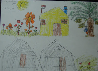 A drawing by a boy from Salahadeen depicting life in his home on the farm and life in the camp.