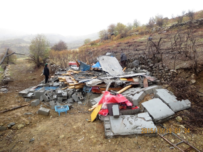 Home destroyed by Turkish bombardments in the Qandil region. 2015.